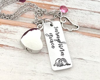 Angel Baby Infant Loss Cremation Urn Pregnancy Loss Memorial Pendant Keepsake Baby Footprint Miscarriage Birthstone Necklace