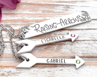 Raising Arrows Birthstone Necklace Scripture Psalm 127:4 Floral Arrow Christian Wife Mom Mother Personalized Mother's Day Gift For Her