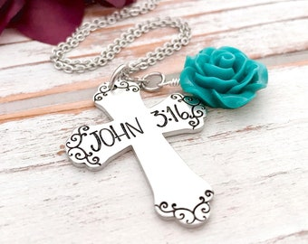 John 3:16 Cross Bible Verse Faith Religious Christian Inspirational Bible Hand Stamped Aluminum Rose Flower Pendant Hand Stamped Jewelry