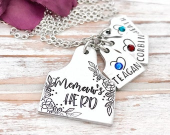 Memaws Herd Cattle Tag Cow Ear Number Rancher Wife Nana Mom Mother Grandmother Mother's Day Gift Birthstone Personalized For Her Necklace