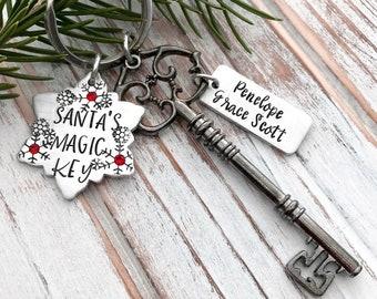 Personalized Santa's Magic Key - Christmas Skeleton Keychain - Snowflake - Rustic Gunmetal Black Key - Children's Ornament Keepsake