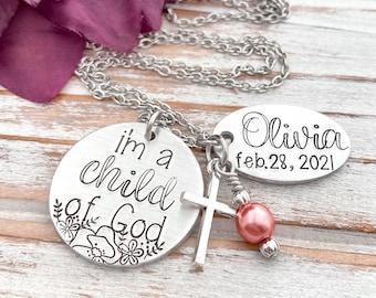 I Am A Child Of God Hand Stamped Baptism Necklace Personalized Confirmation Baptismal Gift