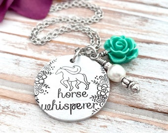 Horse Whisperer Floral Charm Hand Stamped Pendant Necklace Country Girl Horse Lover Gift