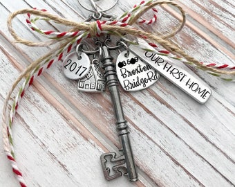 Our First Home - Custom Christmas Ornament - House - Family - Housewarming Gift - New Home - Wedding - Hand Stamped - Black Skeleton Key