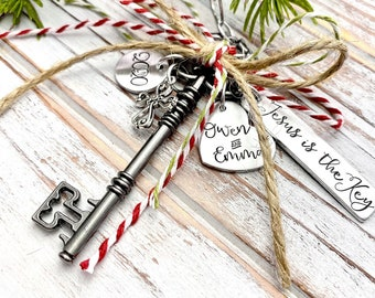 Jesus Is The Key Christmas Ornament Wedding Anniversary Keepsake Christian Religious Reason For The Seaon New Believer Gift Rustic Christmas