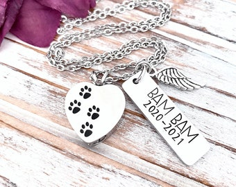 Personalized Pet Urn Pendant Hand Stamped Cremation Paw Print Heart Necklace In Memory Loss of Dog Grieving Furbaby Keepsake