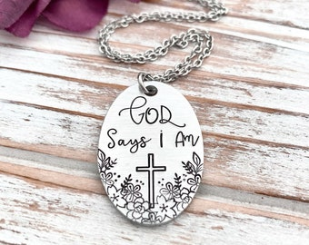 God Says I Am Floral Cross Hand Stamped Pendant Religious Christian Necklace