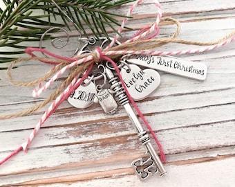 Baby's First Christmas - Personalized Keepsake Ornament - Baby Girl - Custom Baby Shower Gift - New Baby - Skeleton Key