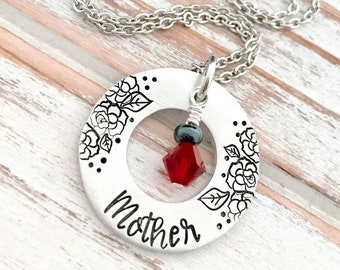 Mothers Day Mother Birthstone Washer Necklace Custom Hand Stamped Pendant Personalized For Her Grandma Daughter Aunt Sister Godmother Gift