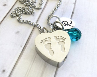 Infant Loss Cremation Urn - Pregnancy Loss Memorial Necklace - Angel Baby Keepsake Necklace - Baby Footprint Necklace - Birthstone Necklace