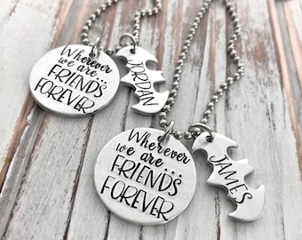Wherever We Are - Friends Forever - Best Friends - Long Distance Friendship - Moving Away Gift - Custom - Personalized - Boys - Brothers
