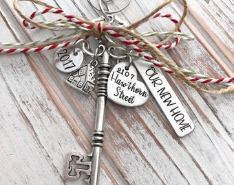 Our New Home - Custom Christmas Ornament - House - Family - Housewarming Gift - First Home - Wedding - Hand Stamped - Silver Skeleton Key