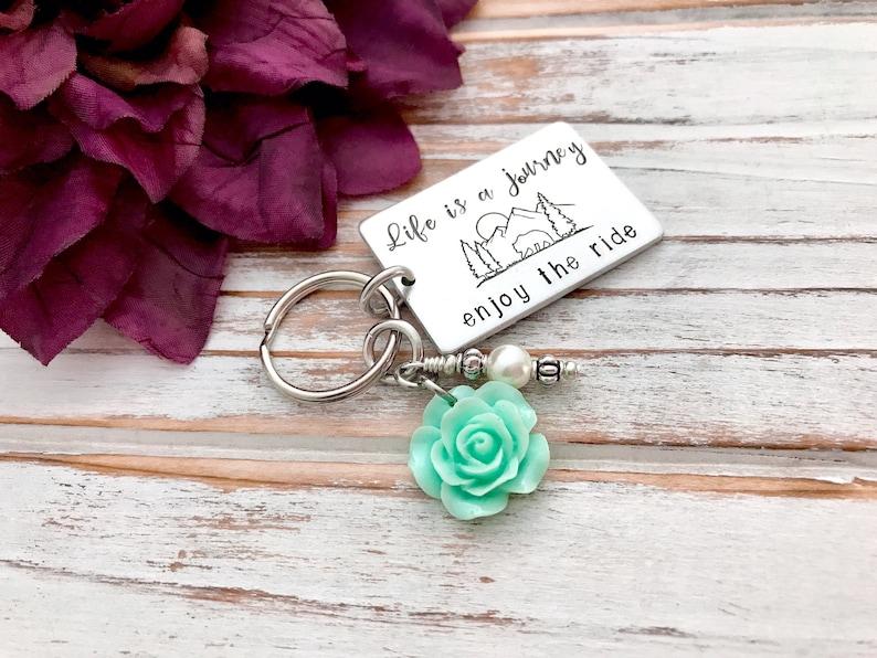Life Is A Journey Enjoy The Ride Keychain Mountain Range Forest Scene Rose Charm Adventure Seeker Gift