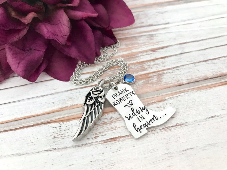 Cowboy In Heaven Memorial Boot Pendant Riding Horse Urn In image 0