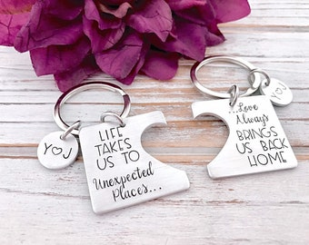 Life Takes Us To Unexpected Places Love Brings Us Back Home Matching Keychain Set Long Distance Relationship Girlfriend Boyfriend Gift