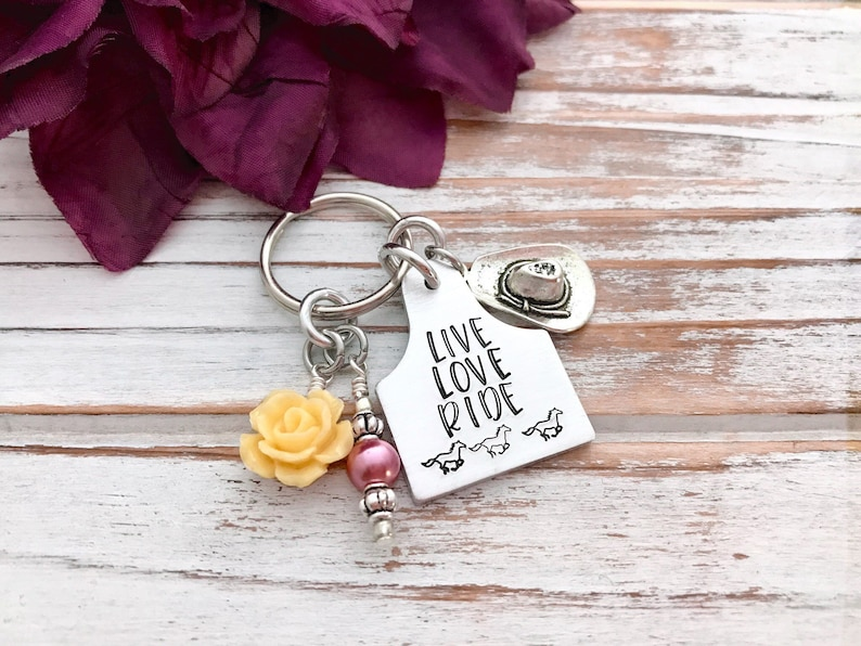 Live Love Ride Horses Country Girl Keychain Cowgirl Hat Boot image 0