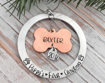 Puppy's First Christmas New Dog Bone Pet Brushed Finish Aluminum Hand Stamped Ornament
