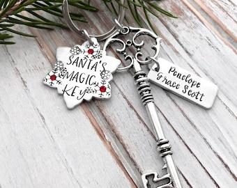 Personalized Santa's Magic Key - Christmas Skeleton Keychain - Snowflake - Rustic Antique Silver Key - Children's Ornament Keepsake