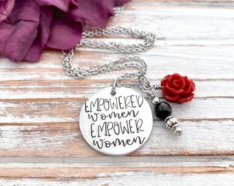 Empowered Women Empower Women Necklace Hand Stamped Women's History Month Strong Female Boss Gift
