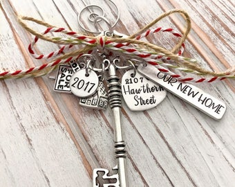 Realty - Our New Home - Custom Christmas Ornament - Closing Gift - Realtor - House - Housewarming - Hand Stamped - Silver Skeleton Key