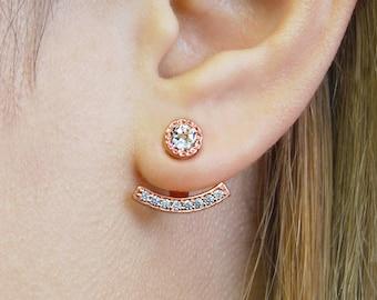 Rose Gold Ear Jackets, Rose Gold Earrings,  Earring Jackets, Silver Earring Jackets, Topaz Studs, Rose Gold Studs, Birthstone Earring Jacket