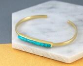 Turquoise Bangle, Gold Cuff Bangle, Turquoise Bracelet, Gold Gemstone, Bangle Bracelet, Birthstone Bracelet, Adjustable Bangle, Gold Jewelry