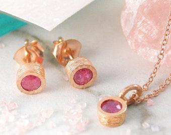 2ecb02eff Ruby Jewelry Set, Rose Gold Jewelry Set, Red Gemstone, Earrings Necklace,  Gemstone Necklace, Rose Gold Studs, Ruby Necklace,Ruby Earrings