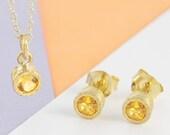 Gemstone Jewelry Set, Citrine Jewellery Set, Citrine Necklace, Citrine Studs, November Birthstone Set, Citrine Pendant, Bridesmaids Jewelry