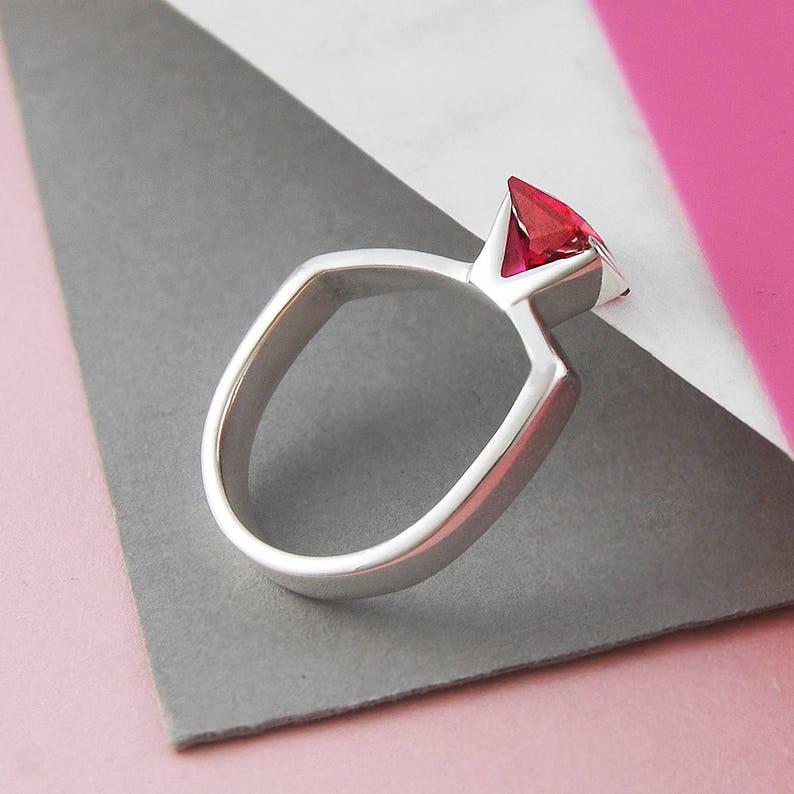 Ruby Ring Geometric Ring July Birthstone Ring Red Cubic image 0