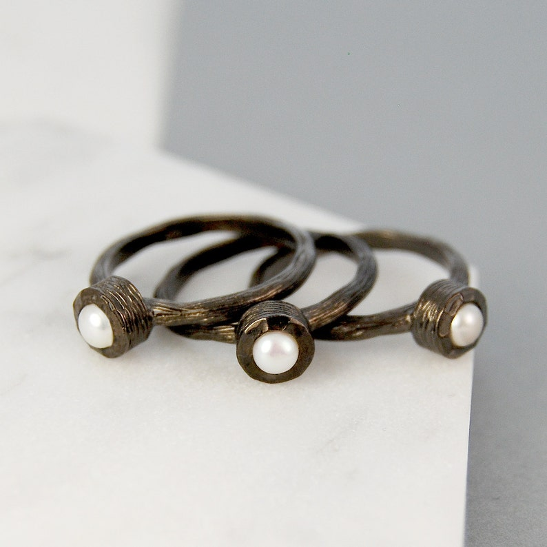 Original 925 Sterling Silver Rose Gold Plated Freshwater Pearl Shell Ring Non-Ironing Fine Rings Jewelry & Watches