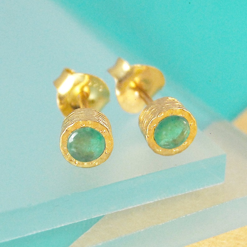 Gold Emerald Earrings Gold Gemstone Studs Gold Earrings image 0