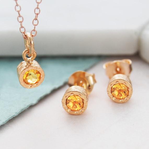 Citrine Gift Birthstone Gift Rose Gold Necklace November Birthstone Gift Set Jewelry Gift Set Rose Gold Earrings Necklace and Earrings