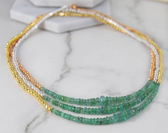 Emerald Necklace, Gemstone Necklace, Green Emerald Necklace, Gold Jewelry, Silver Necklace, Layered Necklace, Birthstone Necklace, Necklaces