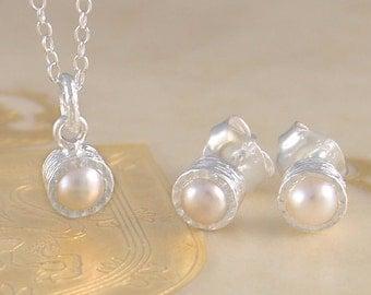 Jewelry Set, Pearl Jewelry Set, Bridesmaids Jewelry Set, Pearl Necklace, Pearl Studs, 925 Silver Pearl Necklace, Freshwater Pearl Necklace