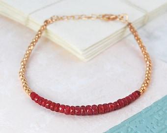 Rose Gold Bracelet, Ruby Bracelet, Red Gemstone Bracelet, Red Bracelet, Gemstone Bracelet, Friendship Bracelet, Silver Gemstone Bracelet