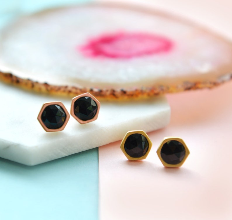 Gemstone Studs Black Studs Black Rose Gold Earrings Gemstone earrings Rose And Gold Studs, Black Spinel Studs Black gold earrings