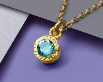 Blue Topaz November Birthstone Pendant, Gold Gemstone Necklace, Gold Semi Precious Necklace, November Birthstone Gift