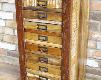 Reclaimed Wood Cabinet - Tall Boy - Filing Cabinet - Apothecary  and Haberdashery