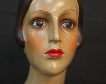 Antiqued Burlesque Head - Vintage Decor
