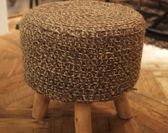 100% Brown Wool Top Footstool