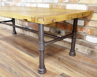 Reclaimed Wood and Pipe Coffee Table