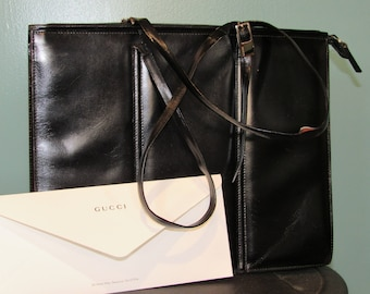 98af98e0b6db57 Vintage Gucci bag black leather tote rare style from late 80s early 90s