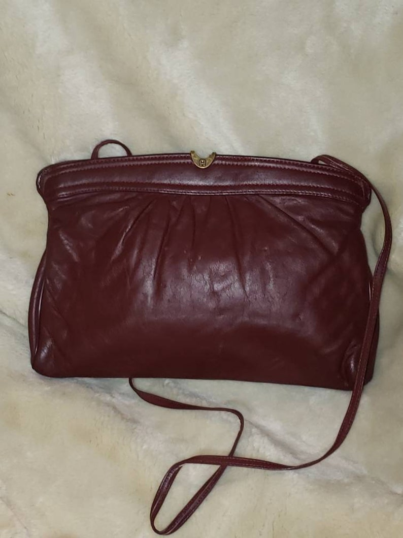 cbff8215016c Vintage Etienne Aigner oxblood convertible clutch shoulder bag