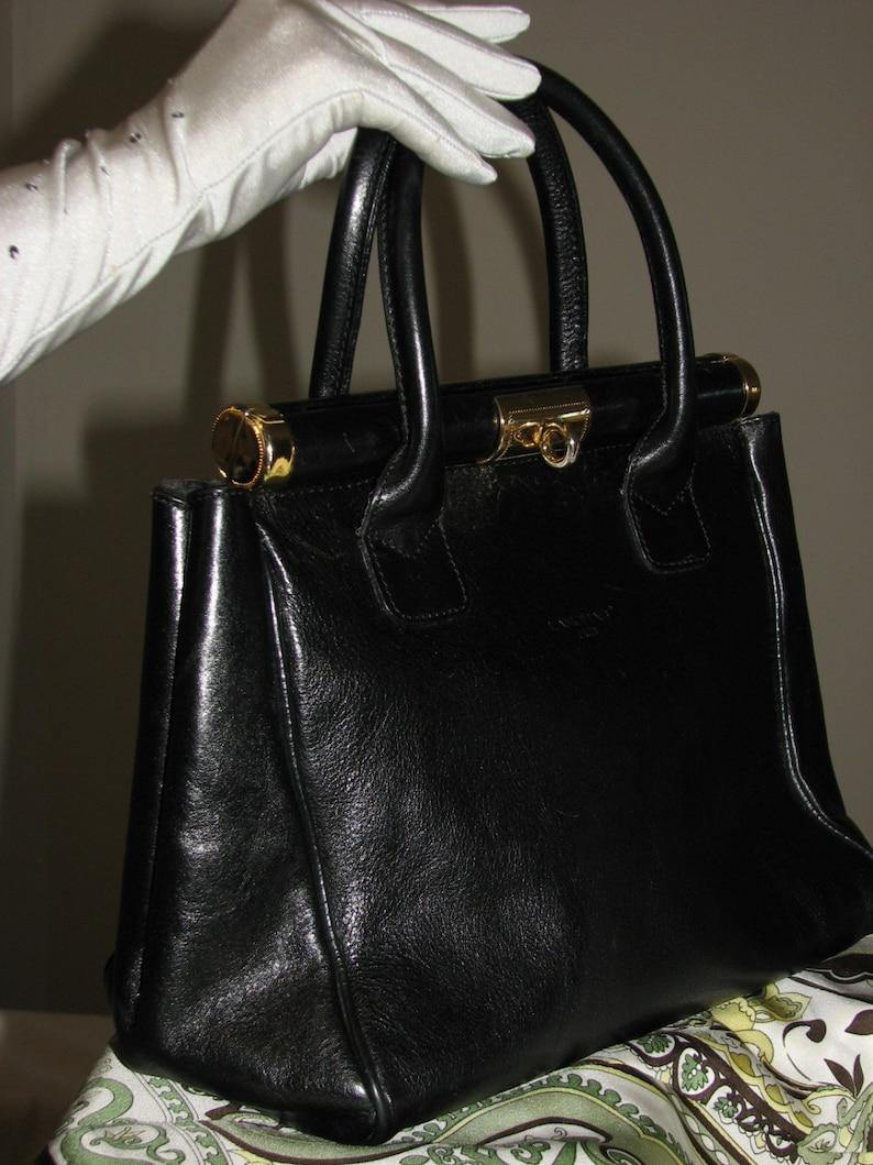 bc9309f9a5b6 Vintage Lanchas Paris handbag satchel black leather bag 90s