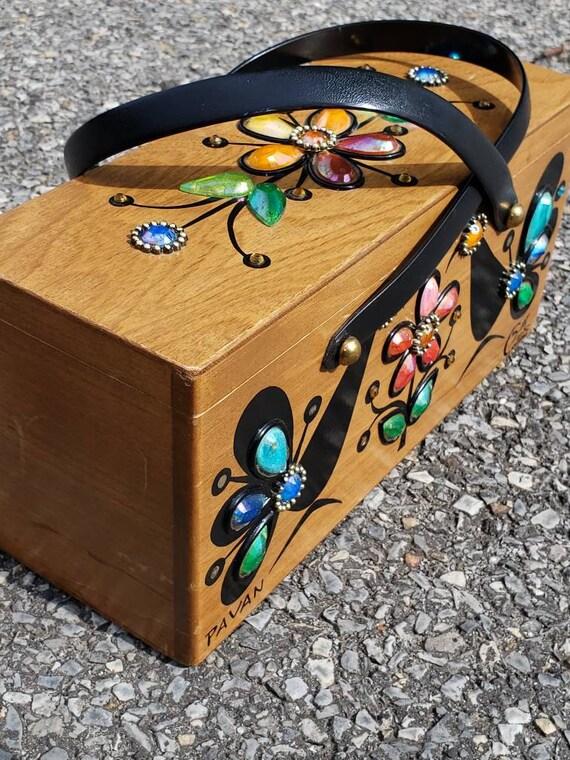 Vintage bag Collins of Texas box bag handmade wood