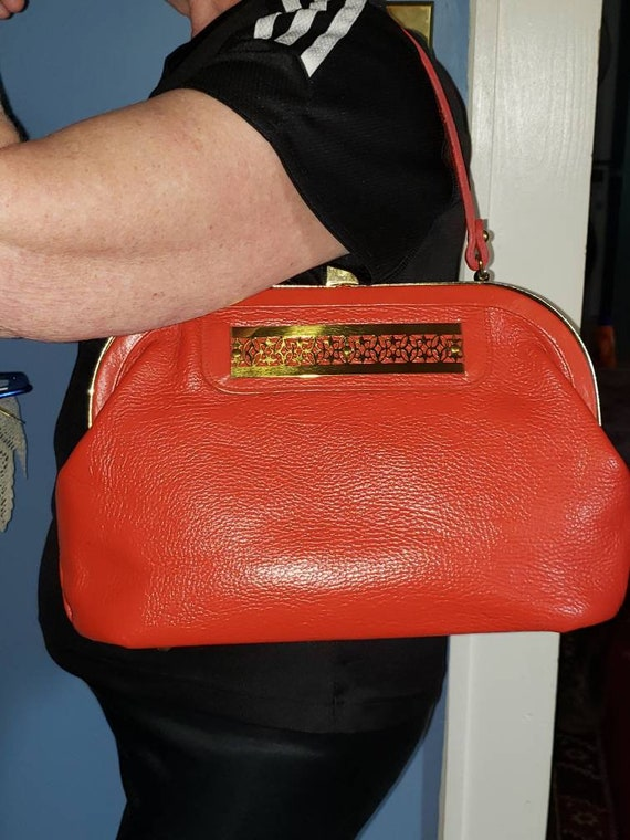 Vintage Roger Van S. Red doctor style bag leather