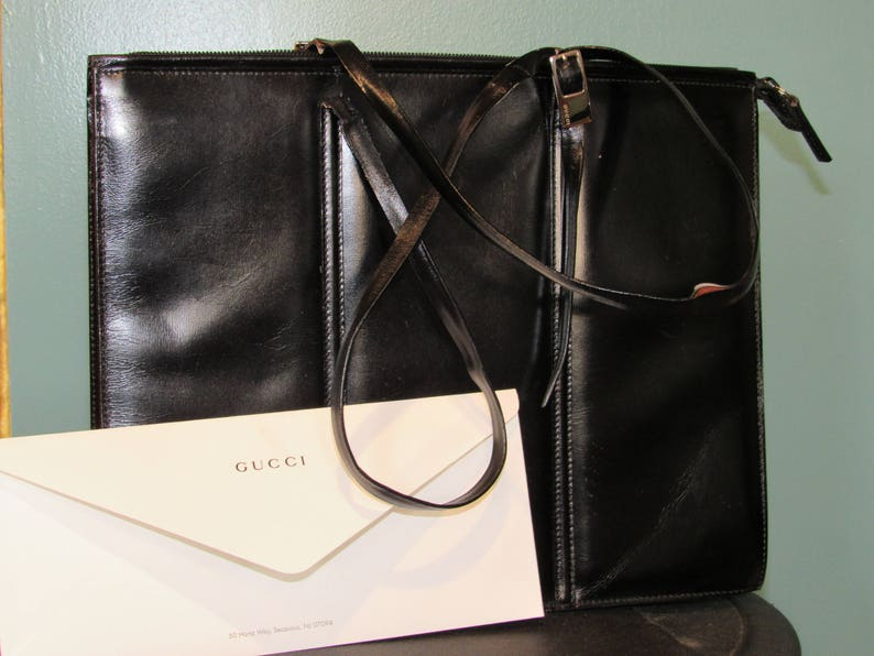 c69dffe56243c Vintage Gucci bag black leather tote rare style from late 80s