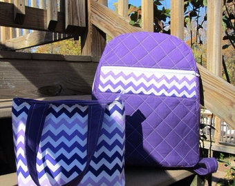 Purple Chevron Quilted Back Pack and Lunch box set