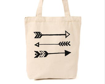 Market tote with arrows, canvas bag, reusable tote, arrows, reusable canvas bag, tote bag, grocery bag
