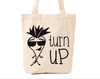 Turn up farmers market tote, reusable grocery bag, grocery, farmers market, hipster bag, canvas tote, canvas bag